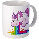 vomiting unicorn mug