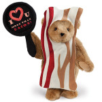 valentine bacon teddy bear plushie