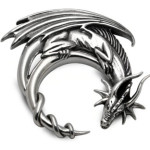 silver dragon moon pendant